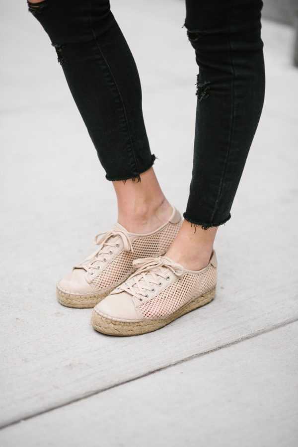 Bows & Sequins styling Old Navy black raw hem jeans with blush pink Marc Fisher platform espadrille sneakers.
