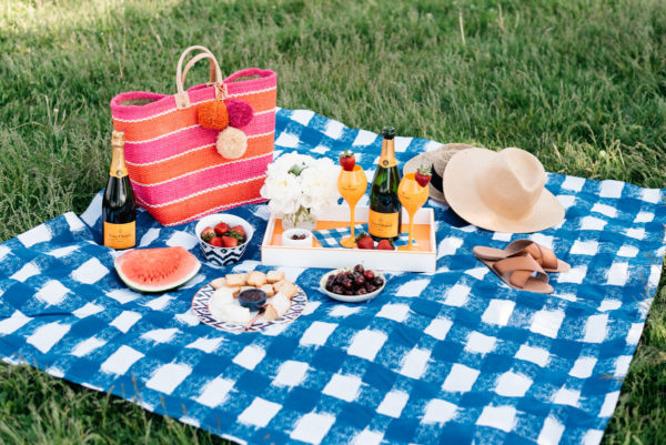 Bows & Sequins hosting a summer picnic with a blue gingham picnic blanket and a Mar y Sol striped tote, a straw hat, and an orange lacquer tray by Lake Michigan.