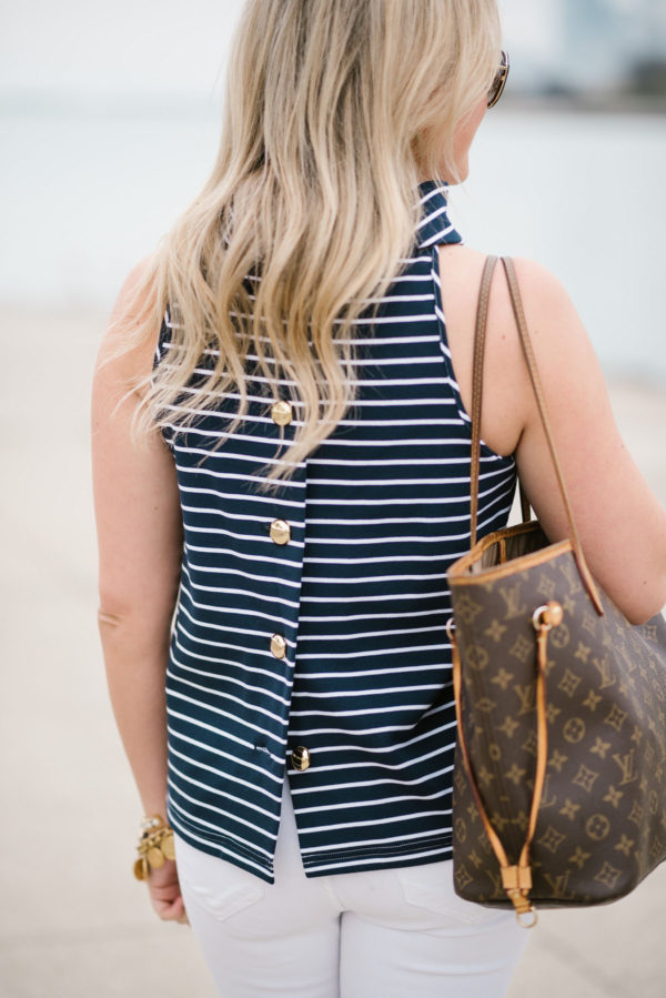 Bows & Sequins styling a Sail to Sable button back striped top and Louis Vuitton Neverfull tote bag.