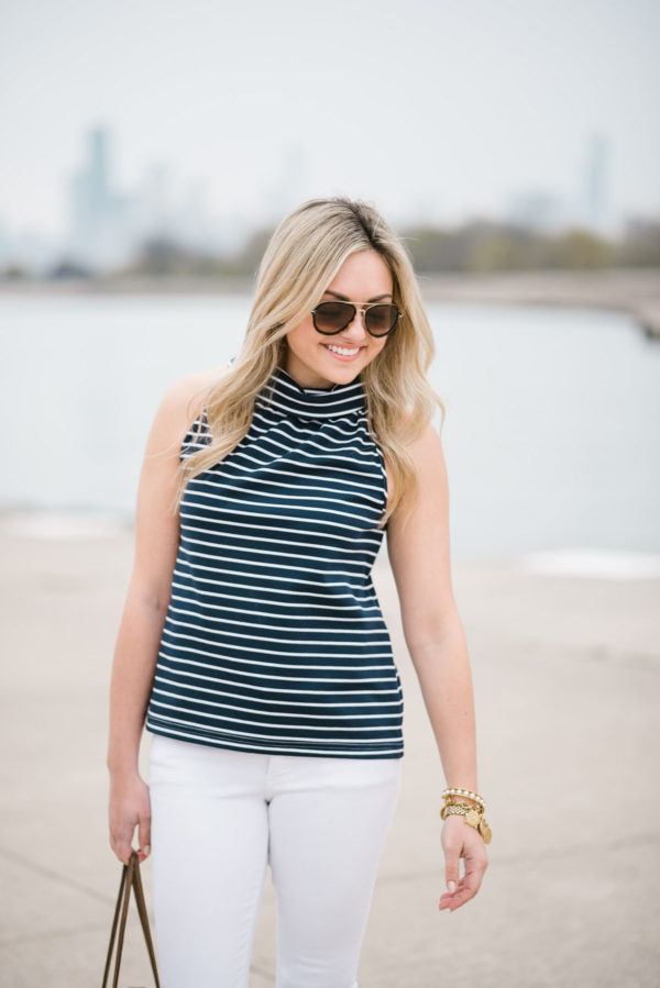 Bows & Sequins styling a striped halter tank top and Celine tortoise aviators.