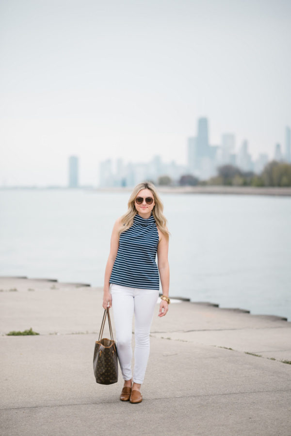 Bows & Sequins styling a Sail to Sable striped top, Old Navy white denim, Celine tortoise aviators, and a Louis Vuitton tote.