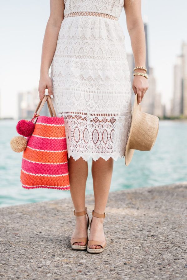 Fashion blogger Jessica of Bows & Sequins wearing a J.O.A. dress and Vince Camuto espadrille heels with an Old Navy straw hat and a striped Mar y Sol tote.