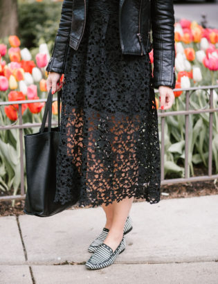 Chicago lifestyle blogger Bows & Sequins wearing an ASTR black lace dress with a moto jacket, leather tote, and Kate Spade loafers.