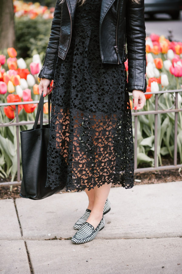 Black Lace Dress Moto Jacket Leather Loafers Bows