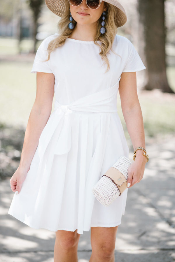Bows & Sequins styling a little white fit & flare dress.