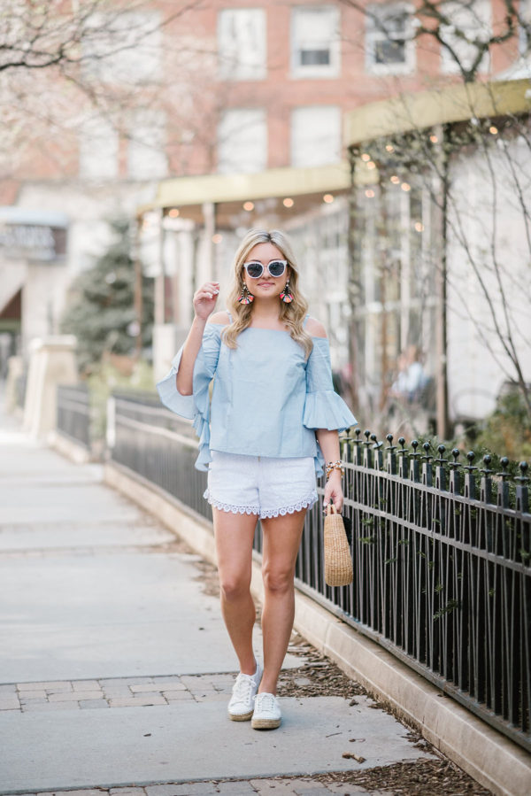 Chicago lifestyle blogger Bows & Sequins styling a cold shoulder chambray shirt with white eyelet shorts and Marc Fisher espadrilles.