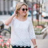 Scalloped White Eyelet Top