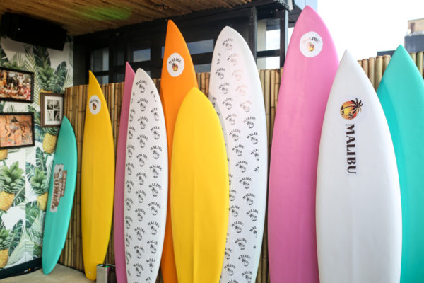 Colorful surfboards at the Malibu Rum summer party at Tiki Tabu on the Lower East Side
