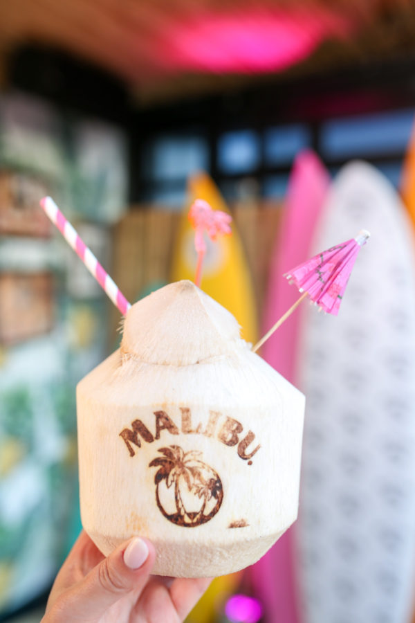 A Malibu Rum coconut cocktail at Tiki Tabu