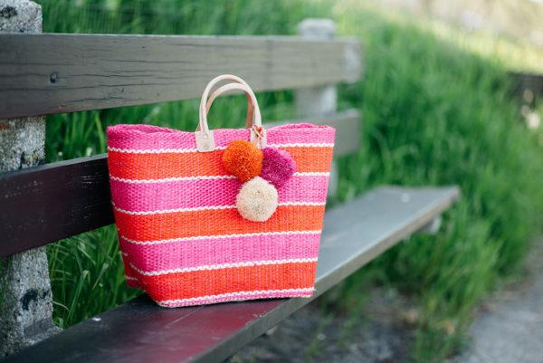 Bows & Sequins Mar y Sol pink and orange stripe tote