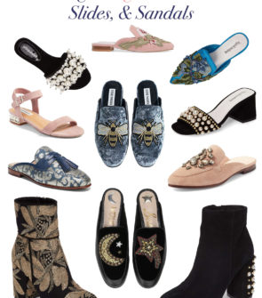 Bows & Sequins Fall Shoe Trends: Pearl Embellished Sandals, Embroidered Slides, and Printed Booties