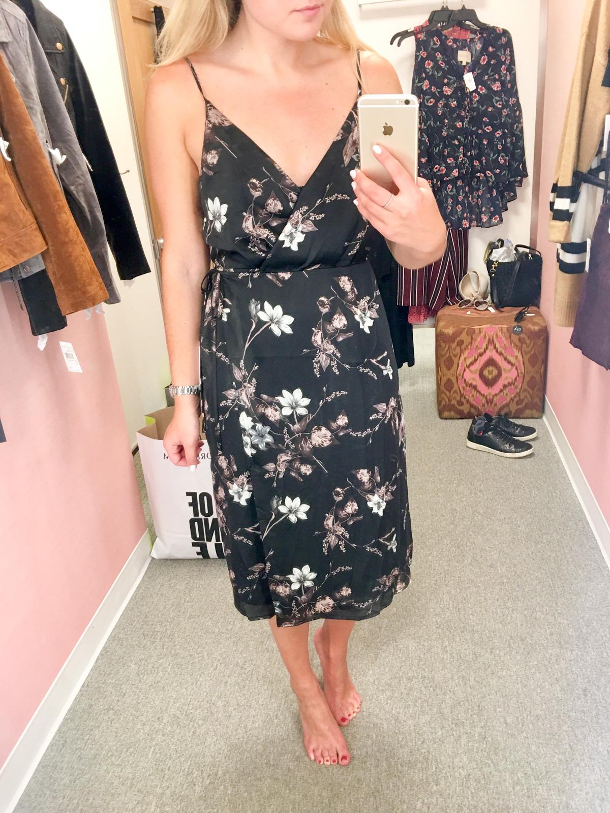 astr floral midi wrap dress nordstrom sale — bows & sequins