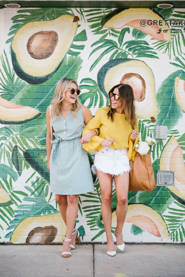 Bows & Sequins wearing a green striped button down dress and Hallie Wilson wearing a flare sleeve Zara top with a One Teaspoon denim skirt.