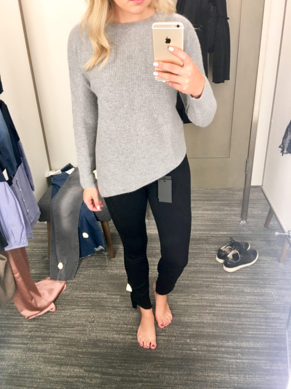 Bows & Sequins Guide to Shopping the Nordstrom Anniversary Sale | What to Buy: Halogen Asymmetrical Hem Sweater and Paige Raw Hem Jeans