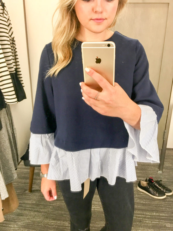 Bows & Sequins Guide to Shopping the Nordstrom Anniversary Sale | What to Buy: Halogen Navy Sweater with Striped Ruffle Hem