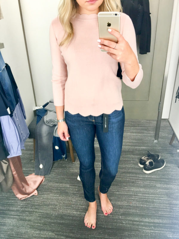 Bows & Sequins Guide to Shopping the Nordstrom Anniversary Sale | What to Buy: Halogen Scalloped Hem Sweater in Blush Pink