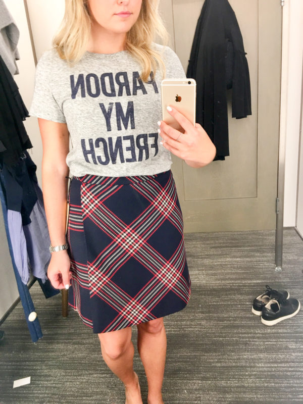 Bows & Sequins Guide to Shopping the Nordstrom Anniversary Sale | What to Buy: J.Crew Pardon My French Tee Shirt and Plaid Skirt