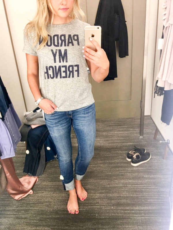 Bows & Sequins Guide to Shopping the Nordstrom Anniversary Sale | What to Buy: J.Crew Pardon My French Tee with Rag & Bone Dre Boyfriend Jeans