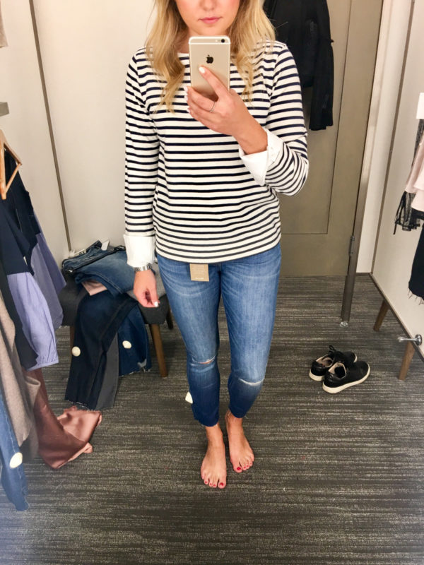 Bows & Sequins Guide to Shopping the Nordstrom Anniversary Sale | What to Buy: J.Crew Stripe Top with Cuff Sleeves and Madewell Skinny Raw Hem Jeans