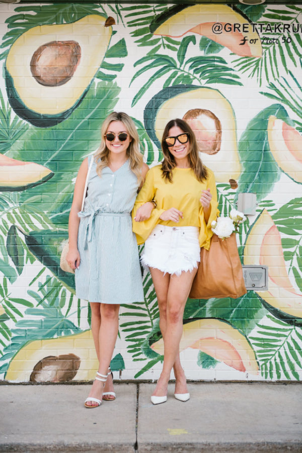Jessica Sturdy wearing a Bows & Sequins midi dress and ankle strap sandals and Hallie Wilson wearing Sergio Rossi pumps, a Zara bell sleeve top and white denim skirt.