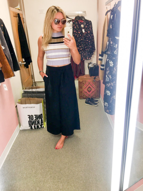 Bows & Sequins Guide to Shopping the Nordstrom Anniversary Sale | What to Buy: Quay Sunglasses, Topshop Ribbed Sleeveless Crop Top, Leith High-Waisted Wide Leg Trousers
