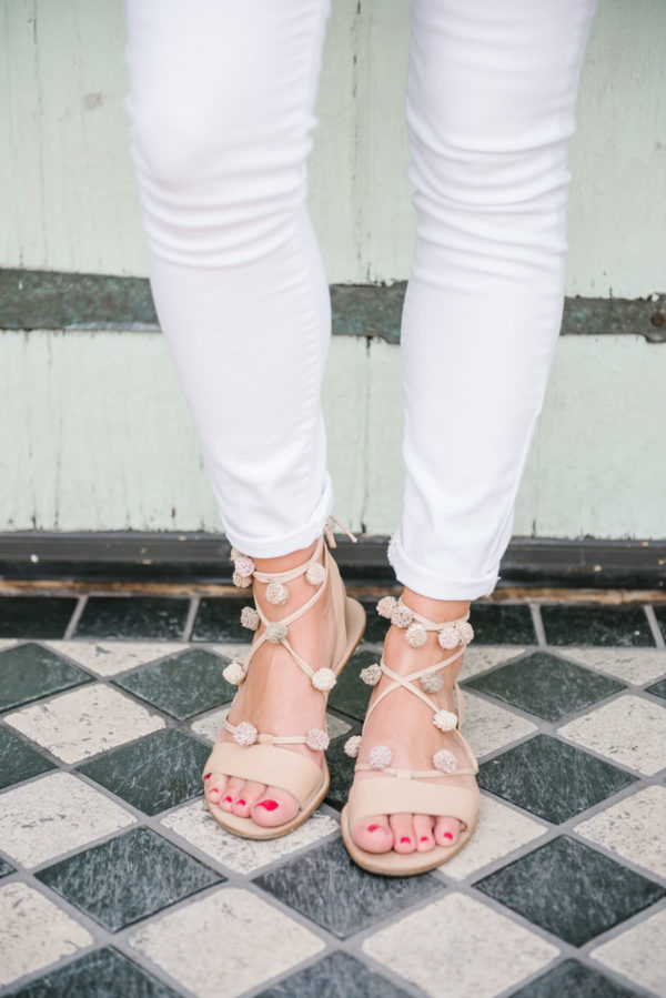 Bows & Sequins wearing Old Navy white denim and Loeffler Randall pom pom sandals at CC Ferns in Chicago.