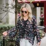 Floral Blouse + White Denim