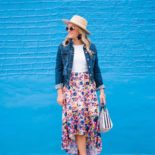 Floral High-Low Hem + Dark Denim Jacket