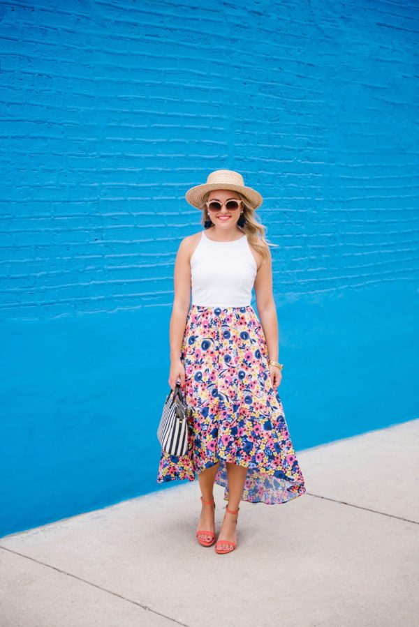 Jessica of Bows & Sequins, a fashion-focused lifestyle blog, wearing a floral Hutch dress from Anthropologie, a straw hat, Old Navy coral heels, Nordstrom sunglasses, a Julie Vos bracelet, and BaubleBar earrings with a Clare V striped tote.