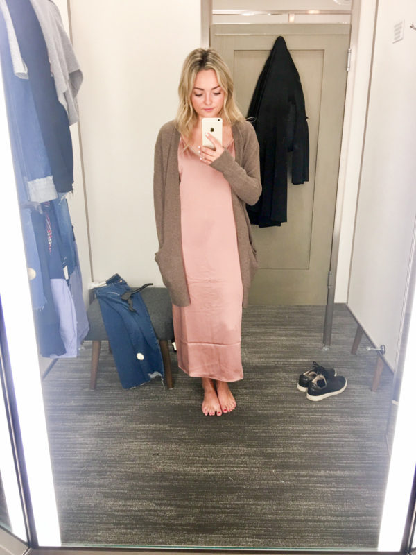 Bows & Sequins Guide to Shopping the Nordstrom Anniversary Sale | What to Buy: Trouve Silk Slip Dress in Blush Pink with Madewell Slouchy Cardigan