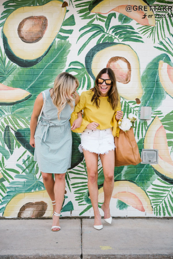 Chicago-based fashion-focused blogger Bows & Sequins wearing a striped summer dress and ankle strap heels. Fitness and lifestyle blogger Hallie Wilson of Among Other Things wearing a Zara flare sleeve top with a white denim miniskirt and Sergio Rossi pointed toe pumps.