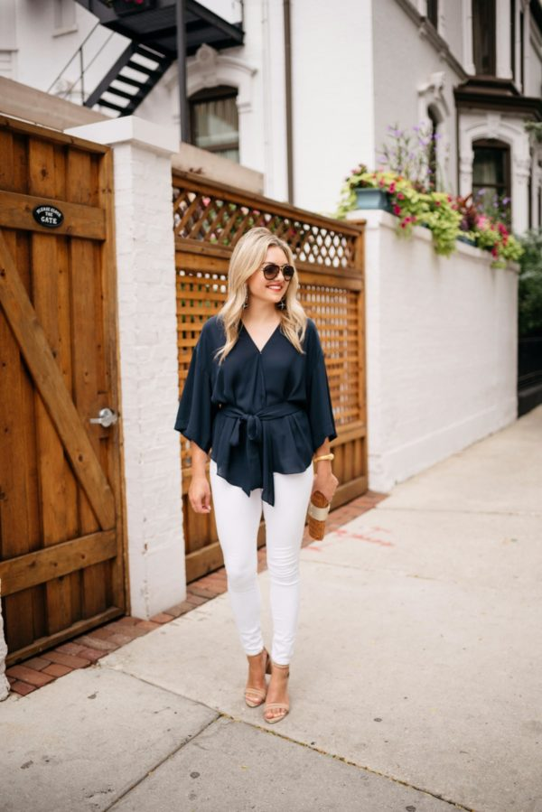 Chicago lifestyle blogger Bows & Sequins wearing Celine aviators from Smart Buy Glasses, a navy Trouve blouse, Old Navy white denim, Kenneth Cole ankle strap nude heels, and a Julie Vos gold cuff with a Vineyard Vines wicker clutch and Dolce & Gabbana red lipstick.