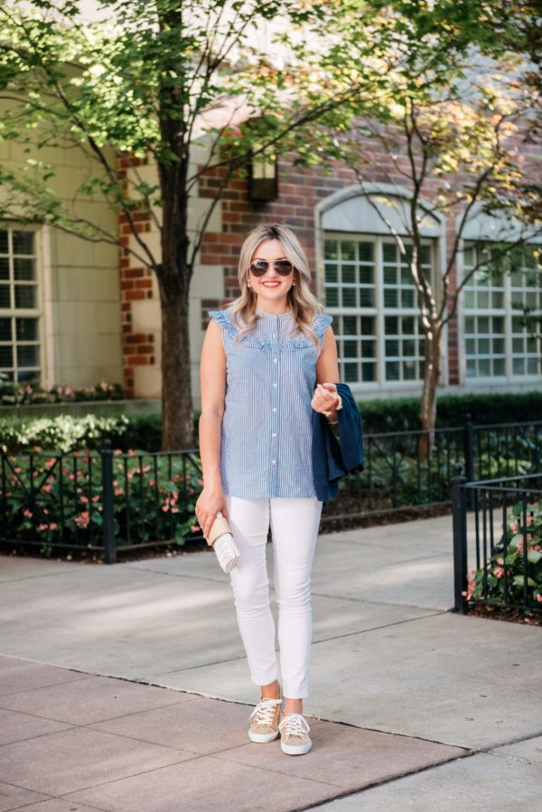 Chicago blogger Bows & Sequins styles an Old Navy chambray sleeveless top with white denim, Gucci aviators, Julie Vos pearl earrings, a Julie Vos gold cuff, a Vineyard Vines rattan wicker clutch, and Old Navy leopard sneakers.