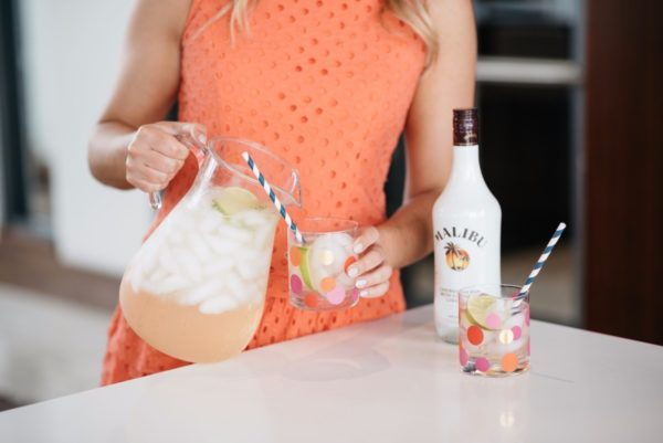 Bows & Sequins sharing her coconut rum recipe with Malibu Rum for National Rum Day.