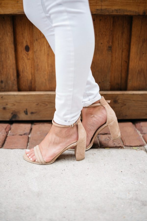 Chicago-based fashion and lifestyle blogger Bows & Sequins wearing Kenneth Cole nude ankle strap heels with Old Navy denim.