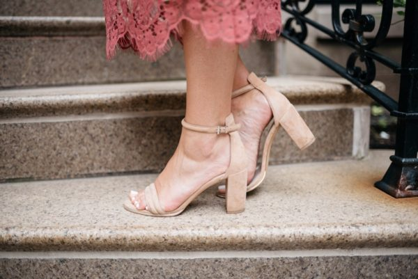 Chicago fashion and lifestyle blogger Bows & Sequins wearing Kenneth Cole ankle strap nude heels.