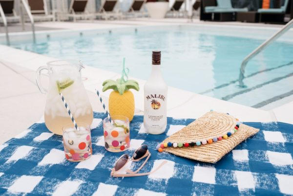 Malibu Coconut Rum summer cocktails by the pool with Bows & Sequins.