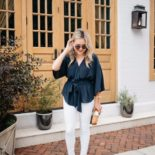 White Jeans + Navy Blouse