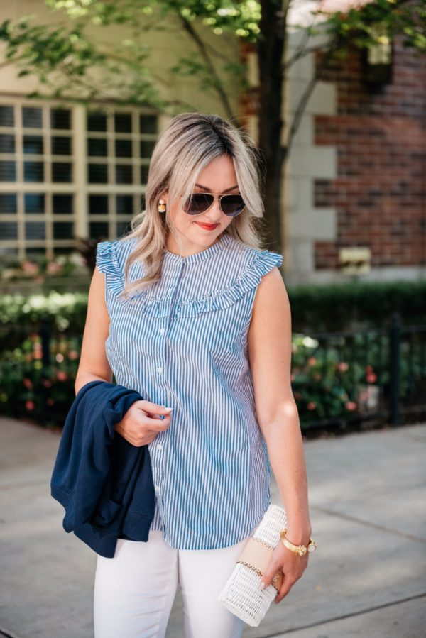 Fashion-focused lifestyle blogger Bows & Sequins wearing Gucci aviators and an Old Navy striped chambray sleeveless top.