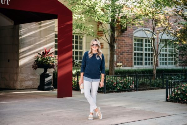 Bows & Sequins wearing Old Navy white denim, a Love Wins graphic sweatshirt, leopard print sneakers, and Gucci aviators.