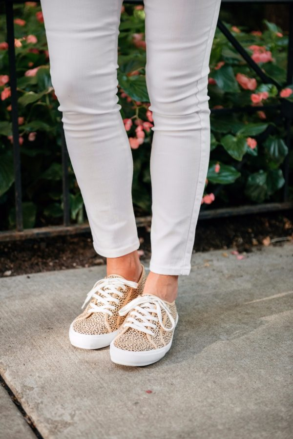 Bows & Sequins wearing Old Navy leopard print sneakers.