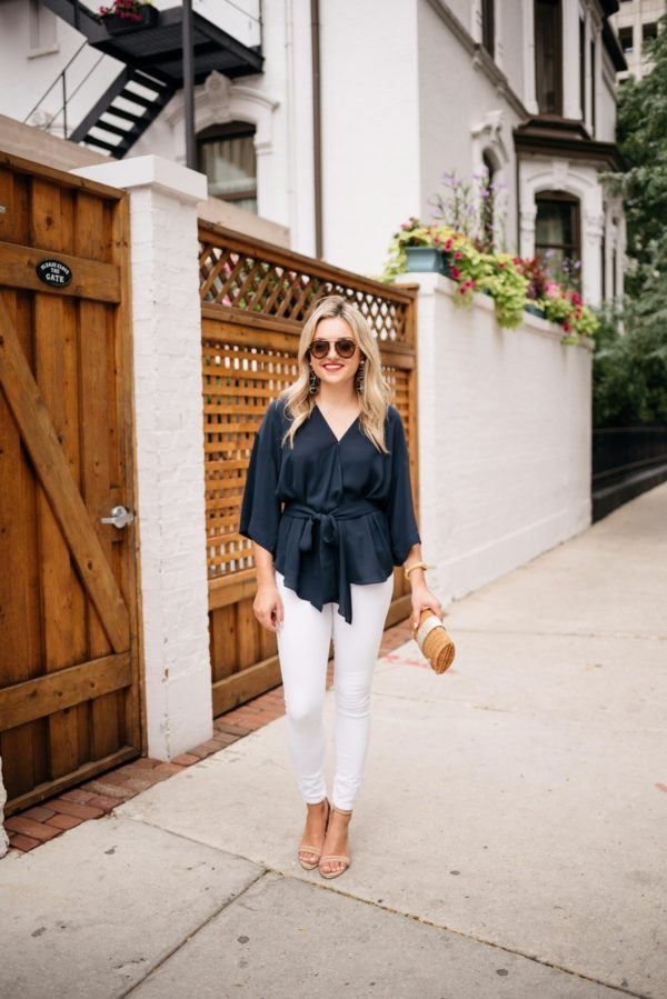 Chicago blogger Bows & Sequins wearing Celine aviators from Smart Buy Glasses, a navy Trouve blouse, Old Navy white denim, Kenneth Cole ankle strap heels, and a Julie Vos gold cuff with a Vineyard Vines wicker clutch.