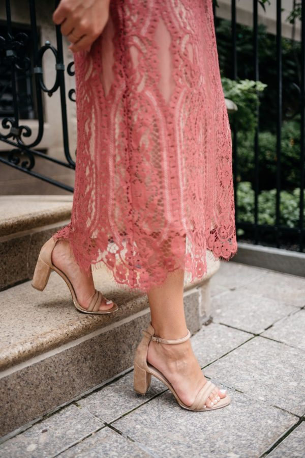Chicago fashion and lifestyle blogger Bows & Sequins wearing a pink lace Wayf dress with nude Kenneth Cole ankle strap heels.