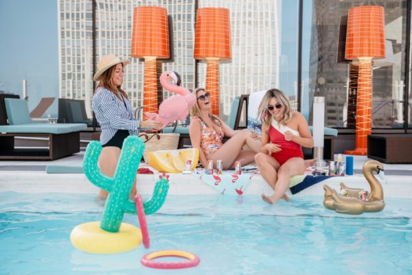 Bows & Sequins shares essentials for a summer pool party with Seven Daughters moscato and rose wine.