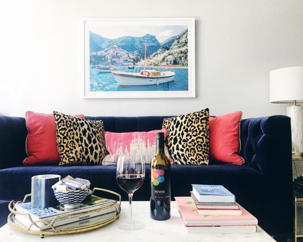 Seven Daughters Wine, Gray Malin Positano Italy, Navy Blue Velvet Couch, Leopard Throw Pillows, Colorful Living Room