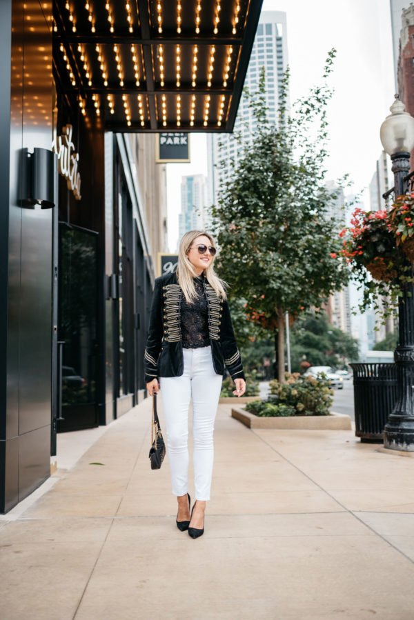 Fashion and style blogger Bows & Sequins wearing a Blank NYC velvet blazer, Old Navy white jeans, Kate Spade suede pumps, and Gucci aviators sunglasses with a Gucci Marmont bag and a David Yurman bracelet from Switch.