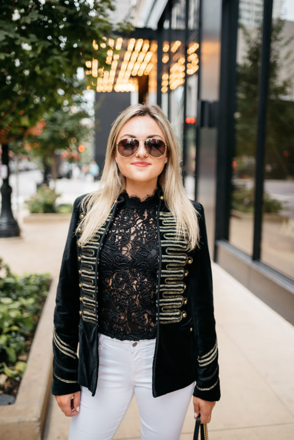 Bows & Sequins wearing Gucci aviators, a Zara lace top, and a Blank NYC velvet blazer with Old Navy white denim.