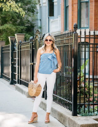 Bows & Sequins wearing a blue and white striped bow tie J.Crew top with Old Navy Rockstar jeans, Vince Camuto wedges, Call It Spring white sunglasses, and a Cult Gaia bamboo Arc bag.