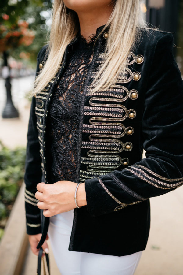 Chicago style blogger Bows & Sequins wearing a gold detailed velvet blazer with a Zara lace top and a David Yurman bracelet from Switch.
