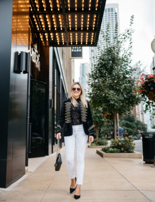 Bows & Sequins styling a Blank NYC velvet blazer with Old Navy white jeans, Gucci aviator sunglasses, a Gucci Marmont bag, and Kate Spade suede pumps.